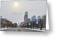 Wintertime - Benjamin Franklin Parkway Greeting Card