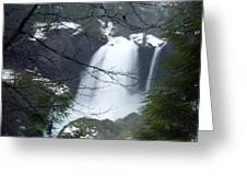 Wintertime Shahalee Falls Obscured By Branches Greeting Card