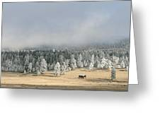 Wintery Mountain Ranch Greeting Card
