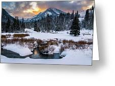 Wintery Wasatch Sunset Greeting Card