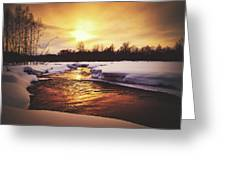 Wintry Sunset Reflections Greeting Card