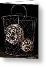 Wire Basket And Balls Still Life Greeting Card