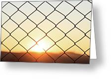 Wire Mesh Fence On A Sunset Background Greeting Card