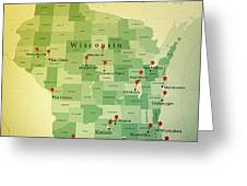 Wisconsin Map Square Cities Straight Pin Vintage Greeting Card