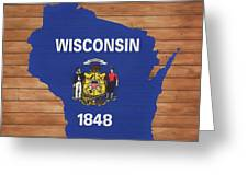 Wisconsin Rustic Map On Wood Greeting Card