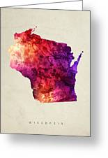 Wisconsin State Map 05 Greeting Card