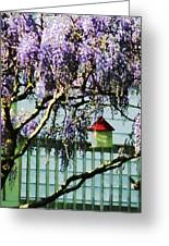 Wisteria And Birdhouse Greeting Card