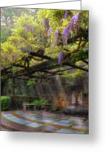 Wisteria Flowers Blooming On Trellis Over Water Fountain Greeting Card