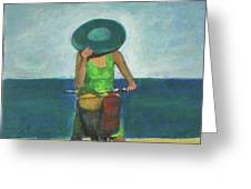 With Bike On The Beach Greeting Card