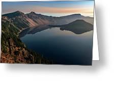 Wizard Island On A Smokey Morning Greeting Card by John Hight