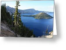 Wizard Island On Crater Lake Greeting Card
