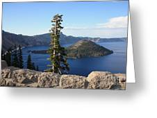 Wizard Island With Rock Fence At Crater Lake Greeting Card