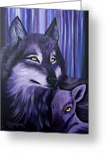 Wolf And Reindeer Greeting Card