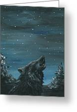 Wolf And The Stars Greeting Card