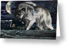 Wolf At Night Greeting Card
