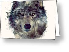 Wolf // Persevere Greeting Card by Amy Hamilton