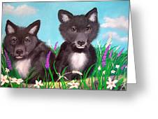 Wolf Pups Greeting Card