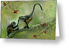 Wolf's Guenon Greeting Card by Thanh Thuy Nguyen