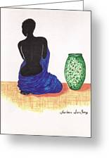 Woman And A Ginger Jar Greeting Card