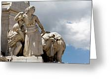 Woman And Bull, Marquis De Pombal Monument Greeting Card