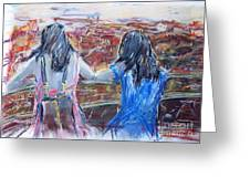 Woman And Girl In Nature Greeting Card
