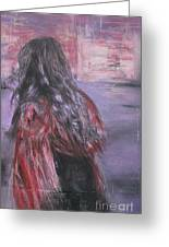 Woman And Scarf Greeting Card