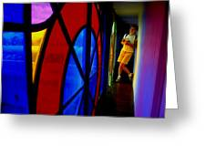 Woman And Stained Glass Greeting Card