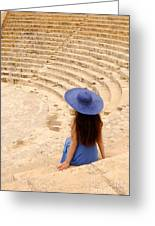 Woman At Greco-roman Theatre At Kourion Archaeological Site In C Greeting Card