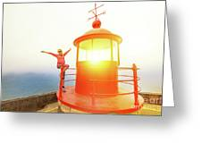 Woman At Nazare Lighthouse Greeting Card