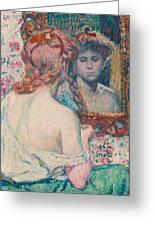 Woman At The Mirror  Greeting Card