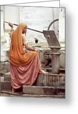 Woman At The Pump Greeting Card