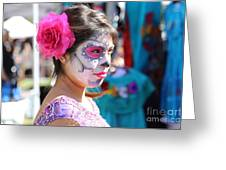 Woman Beautiful Day Of The Dead  Greeting Card