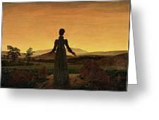 Woman Before The Rising Sun Woman Before The Setting Sun1818-20  By Caspar David Friedrich 1774 Greeting Card