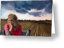 Woman By A Plowed Field Greeting Card
