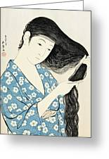 Woman Combing Her Hair Kami Sukeru Onna Greeting Card