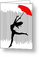 Woman Dancing In The Rain With Red Umbrella Greeting Card