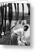 Woman Doing Laundry, C1902 Greeting Card