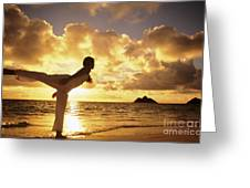 Woman Doing Yoga On Golden Beach Greeting Card