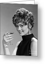 Woman Drinking Champagne, C.1960s Greeting Card