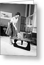 Woman Dusting, C.1950-60s Greeting Card