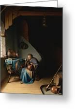 Woman Eating Porridge Greeting Card