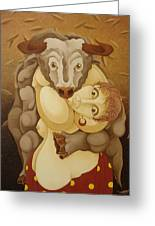 Woman Embracing Bull  2005 Greeting Card