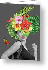 Woman Floral  Greeting Card