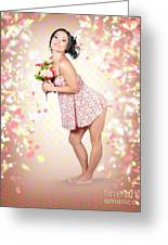 Woman Holding Flowers In Hands. Spring Celebration Greeting Card