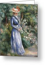 Woman In A Blue Dress Standing In The Garden At Saint-cloud Greeting Card by Pierre Auguste Renoir