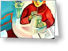 Woman In A Cafe Greeting Card