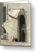 Woman In A Doorway. Rome Greeting Card