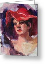 Woman In A Floppy Red Hat Greeting Card
