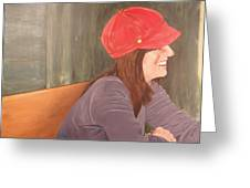 Woman In A Red Cap Greeting Card