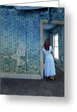 Woman In Abandoned House Greeting Card by Jill Battaglia